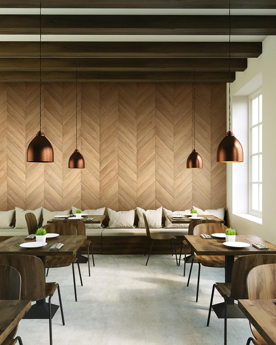décoration parquet bois restaurant consilio design